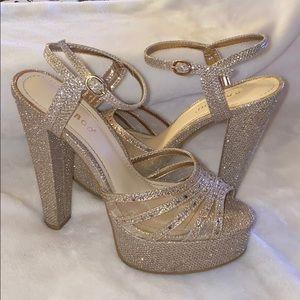 Gold Rhinestone Block Heels